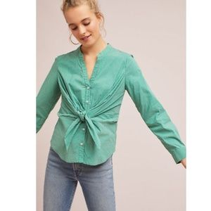 Maeve Anthro Katherine Knotted Button Green Stripe